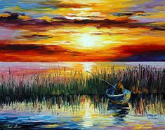 Fishing on the lake painting by Leonid Afremov is a real masterpiece created by the artist. Lake Painting, Oil Painting On Canvas, Knife Painting, Painting Art, Sea Colour, Sunset Colors, Palette Knife, Original Paintings, Art Paintings
