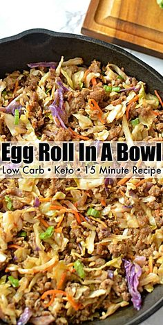 Low Carb Egg Roll In A Bowl – recipe that tastes just like a classic egg roll minus the carbs! It can be made with eggs, shrimp, ground chicken, sausage or beef! Low Carb Egg Roll In A Bowl – recipe that tastes just like a classic egg roll minus … Egg Roll Recipes, Low Carb Recipes, Diet Recipes, Healthy Recipes, Recipes Dinner, Soup Recipes, Smoothie Recipes, Dessert Recipes, Cooking Recipes