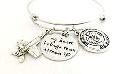 Airman Bracelet - Deployment Military Wife Jewelry - My Heart Belongs to an Airman Expandable Bangle - Airforce Wife Girlfriend Fiance Gift by ForeverHeartPrints on Etsy