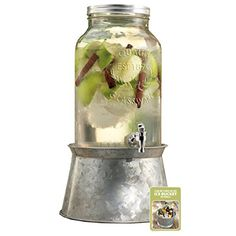 Palais Glassware Mason Jar Beverage Dispenser - Traditional Tin Screw Off Lid Gallon Capacity With Ice Bucket, Clear Mason Jar Dispenser, Drink Dispenser, Kombucha, Coffee Bottle, Mason Jars, Beverages, Traditional, Glass, Ebay