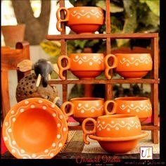1074ce9664c Unravel India Earthen Print Ceramic Cup Saucer(Set of 6)  Teacups  Online