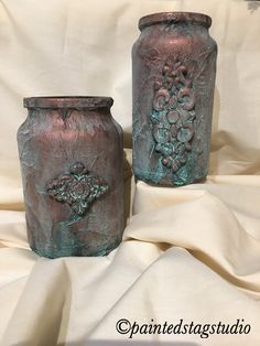 Copper paint and patina on glass with IOD castings