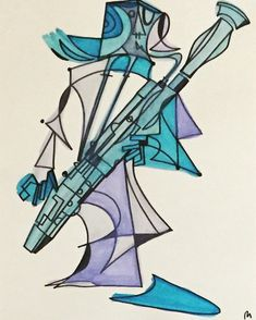 Excited to share this item from my shop: Khione the Bassoonist x 14 ink and watercolor piece Basson, Valentine Gifts, Watercolor, Illustration, Orchestra, Instruments, Etsy Shop, Music, Products