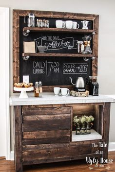 Build the Home Bar of Your Dreams with One of These 9 Free Plans: DIY Coffee Bar from The Tale of an Ugly House