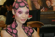 Reptilian Themed Make-up with Crystals... although I see butterfly wings. ;-)