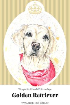 Zeichnung Hund - Golden Retriever - Aquarell - Aram und Abra