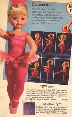 Dancerina doll by Mattel at CollectToys. My Childhood Memories, Childhood Toys, Sweet Memories, Vintage Dolls, Vintage Ads, Vintage Stuff, Vintage Paper, Vintage Advertisements, Vintage Images