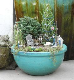 Blue and Silver Holiday Miniature Garden