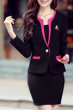 Graceful Scoop Collar Long Sleeve Slimming One Button Blazer + Solid Color Skirt Suit For Women. Medium - Sammy Dress.