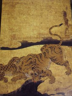 yama-bato:    A tiger  Nijo-Jo  Kano school    High-res →    The shapes of the tigers are strange because the artist had not ever seen a tiger in real life and drew the pictures from using actual skins that were given to the shogun as gifts.(via)