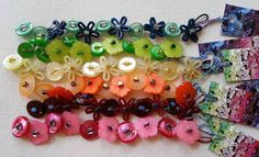 Colourful button bracelets