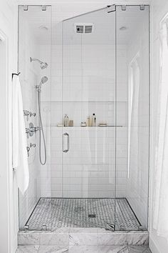 If you're planning a bathroom remodel, consider adding a few of these fabulous features. These popular bathroom upgrades will require a small investment, but the reward is a more luxurious oasis you'll love. #bathroomideas #bathroomremodel #newbathroom #bathroomdecor #bhg Tile Walk In Shower, Walk In Shower Designs, Shower Floor, Shower Arm, Standing Shower, Luxury Master Bathrooms, Small Bathrooms, Beautiful Bathrooms, Shower Installation