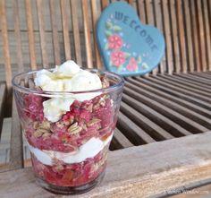 Strawberry Rhubarb Coconut Crisp Parfait | © Life Through the Kitchen Window.com Parfait, Crisp, Strawberry, Coconut, Pudding, Window, Dishes, Spring, Kitchen