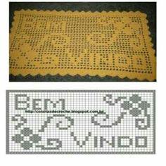 Crochet Diy, Love Crochet, Filet Crochet Charts, Rugs, Pattern, Pasta, Crochet Doily Rug, Marque Page, Crochet Pillow
