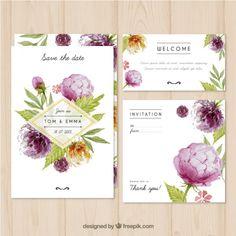 Invitación de boda de acuarela con flores | Descargar Vectores gratis