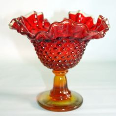 Fenton-Amberina-red-Crimped-Fluted-Rim-Hobnail-Glass-Candy-Dish