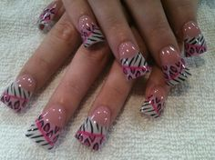 pink leopard and zebra - Nail Art Gallery
