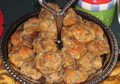 A crowd-pleaser for Holiday gatherings. This is my most requested recipe. These are best served with Versatile Mustard Dip (Recipe Great Appetizers, Appetizer Recipes, Appetizer Ideas, Homemade Breakfast, Breakfast Recipes, Mustard Dip Recipe, Redneck Recipes, Sausage Balls, Balls Recipe