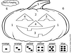 Roll A Pumpkin: Halloween Math Fun for Kindergarten Could be adapted to multiplication or addition for higher grades