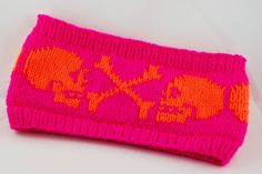 double knitted Headband Skulls neon pink and orange by Butzeria Knitted Headband, Knitted Hats, Madd Hatter, How To Purl Knit, Knit Purl, Double Knitting, Diy Clothing, Yarn Crafts, Knitting Patterns