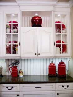 Red kitchen ideas red kitchen accents red accessories design pictures remodel decor and ideas more yellow . Red Kitchen Accents, Black And Red Kitchen, Black Kitchen Decor, Black Kitchens, Kitchen Colors, New Kitchen, Cool Kitchens, Red Accents, Colorful Kitchens
