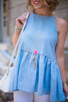 Blue Peplum Top - Cl
