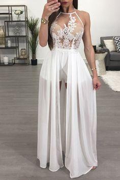 White Sheer Mesh Lace Applique Maxi Romper Dress Skort Dress 6e216dcd6