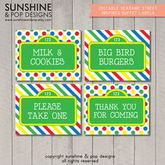 INSTANT DOWNLOAD  EDITABLE Sesame Street by SunshineAndPop on Etsy, $7.50 Check these out for Addi's party! @Stephanie Broadaway