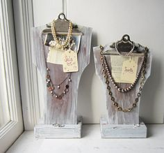 Your Choice - One White Clipboard Necklace Bust Display with Sturdy Wood Base - Necklace Display - Jewelry Display - Ready to Ship Retail Jewelry Display, Jewelry Booth, Jewelry Armoire, Jewellery Storage, Jewelry Organization, Jewelry Hanger, Craft Booth Displays, Display Ideas, Display Stands