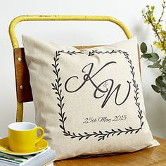 Personalised Monogram Linen Cushion - anniversary gifts
