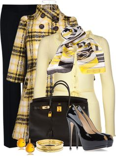 """Yellow coat"" by leilani-almazan on Polyvore"