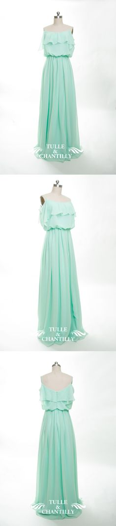mint long bridesmaid dress with ruffles