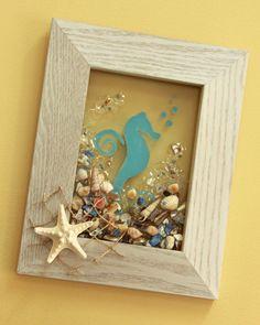 Seahorse Glass Art - Painted Seahorse with Seashells Wall Art - Seaside Beach Art - Beach House Decor by SeaSideCreations1 on Etsy