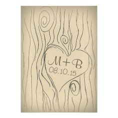 vintage carved tree wood wedding invitation