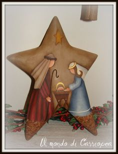 Nativity Scene on Star Nativity Crafts, Christmas Projects, Christmas Crafts, Christmas Decorations, Christmas Ornaments, Christmas Nativity Scene, Noel Christmas, Country Christmas, Nativity Scenes