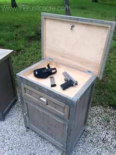 Custom built nightstand with hidden gun storage. Built by The Rustic Acre in College Station, TX