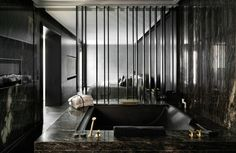 A black marble bathroom? I am in heaven.
