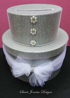 Silver Bling Wedding Card Box by SweetJonesin on Etsy Wedding Gift Card Box, Gift Card Boxes, Wedding Boxes, Wedding Cards, Wedding Gifts, Denim And Diamonds, Tulle Bows, Mesh Ribbon, Bling Wedding