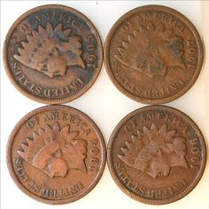 1904, 1905, 1906, 1907 One Cent Coins - Indian Head Penny Coin Lot - Collection - Christmas Gift - Diplay - Copper Coinage - G to VG Grades by EarthlyCrystals33 on Etsy