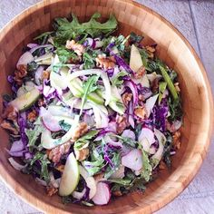 Repost! Raw Slaw by #mywholesomekitchen  We love our salads and often opt for #coconutsugar when we need our dressings sweetened as #vegan and #lowglycemic sweetener alternative.  Salad: Red cabbage Fennel Rocket  Radish Green apple Parsley Mint Walnuts  Dressing: Tahini Olive oil Lemon juice Garlic Raw honey Warm water Sea salt Pepper  #saladporn #eatyourrainbow #leanmeangreenmachine #breakfastofchampions #foodporn #vegansofig#partyinmymouth #instafood #foodie #foodism #miammiam