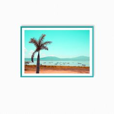 "Likeside panorama photograph,landscape photo,palm wall decor,exotic scenery,gift,lake,boats,water,serene,peaceful view, ""Palm in turquoise"""