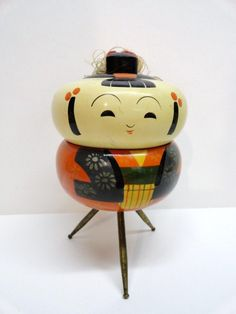 Vintage Japanese Kokeshi Doll Votive Holder - 1940s.     I have two sets of these. MB
