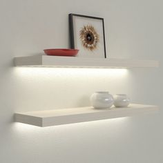Veca Italy sells online illuminated shelves for the home. Led Shelves with electrical transformer or rechargeable battery, wooden lighted shelves Led Shelf Lighting, Floating Shelves With Lights, Ikea Floating Shelves, Wall Shelves Design, Bookshelf Design, Corner Shelves, In Wall Shelves, Decorative Wall Shelves