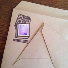 切手フレームのはんこ 「お弁当の時間です」 消しゴムはんこ