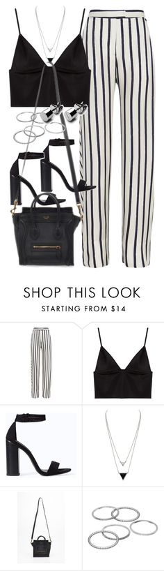 """Outfit with striped trousers"" by ferned ❤ liked on Polyvore featuring Nicholas, T By Alexander Wang, Zara, House of Harlow 1960 and Apt. 9"