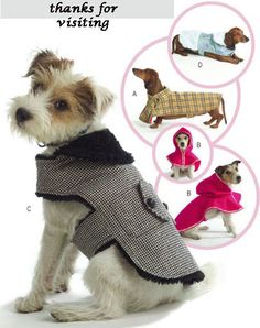 DOG COAT PET Sewing Pattern  Four Styles of Dogs @PATTERNS4YOU