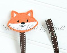 Fox Feltie- Brown Stripe Ribbon- Baby Pacifier Clip- Teething Ring Clip