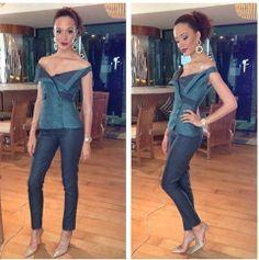 The Lolu Rhoda Statement Octarine earring worn by the stylish Eku Edewor My Boo, Jumpsuit, Skinny, Stylish, Pants, Icons, Instagram, Dresses, Fashion