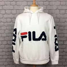 58abacd724f3 FILA MENS UK L AAREN OVERHEAD HOODIE WHITE COSY PULLOVER WINTER WARMTH # fashion #clothing #shoes #accessories #mensclothing #activewear (ebay link)