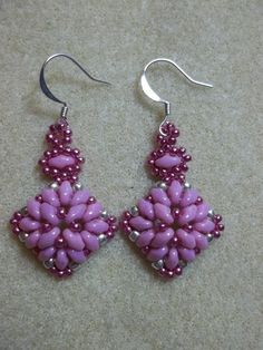 Corundum Earrings   by Kelly from Off the Beaded Path - http://www.pinterest.com/beadedpath/my-tutorials-kits/